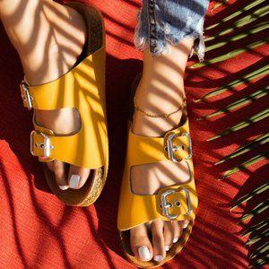 LAST 1!! Saffron Yellow Leather Birk Style Sandals